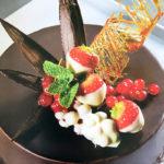 Molton Chocolate Cake with Balsamic Cherries and Bourbon Vanilla Ice-Cream
